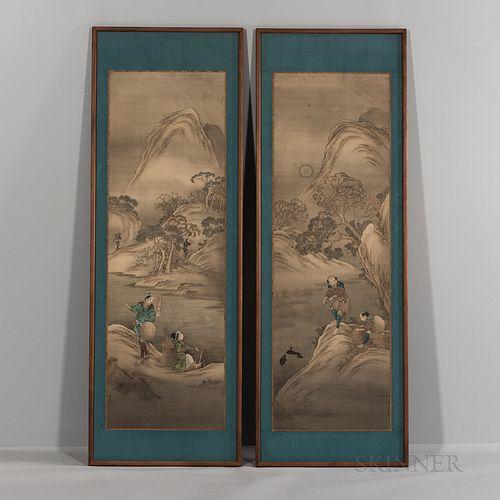 Katsushika Isai (1821-1880), Pair of Paneled Paintings