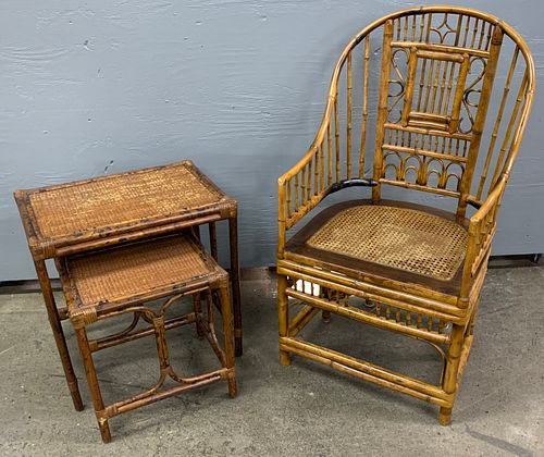 Bamboo Style Chair and Side Table Assortment