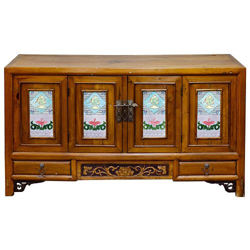 Asian Style Wood Credenza Cabinet