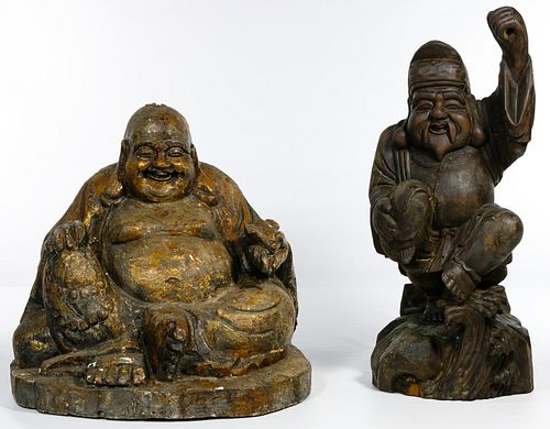 Asian Carved Wood Buddha Statues