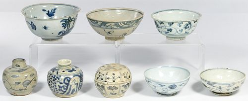 Chinese Ming Swatow Blue on White Assortment