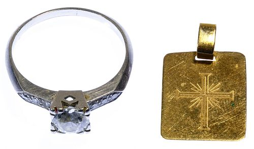 Platinum and Diamond Ring and 18k Gold Pendant