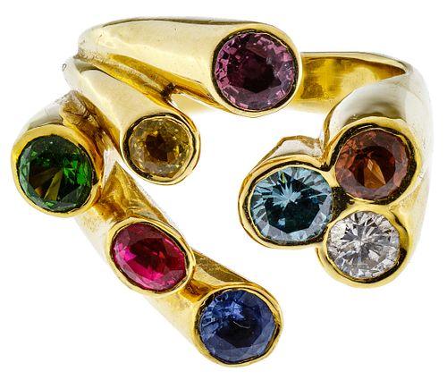 Ron Ray 18k Gold and Semi-Precious Gemstone Ring
