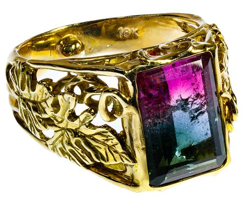 Ron Ray 18k Gold and Watermelon Tourmaline Ring