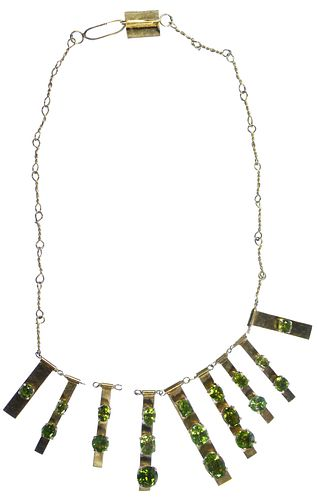18k Gold and Peridot Necklace