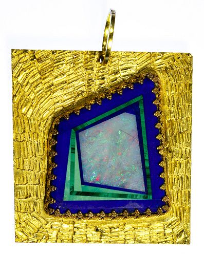 18k Gold and Stone Pendant