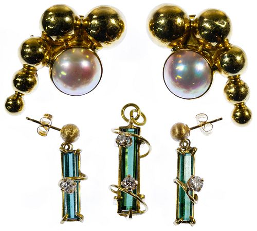 18k Gold, Pearl and Gemstone Jewelry Assortment