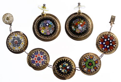 14k Gold and Millefiori Disk Bracelet and Earrings