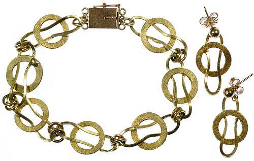 14k Gold Link Bracelet and Pierced Earrings