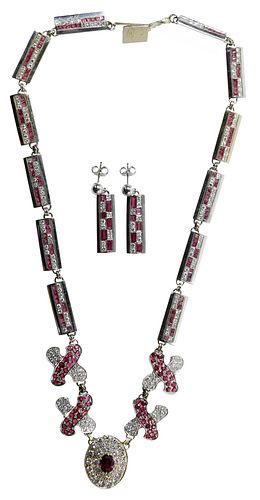 14k White Gold, Ruby and Diamond Necklace and Earrings
