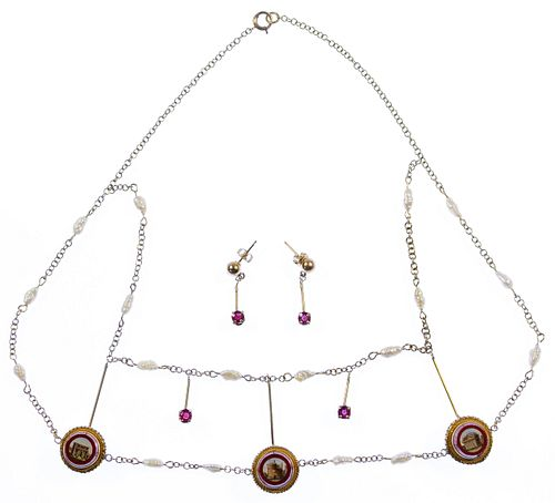 14k Gold and Micro-Mosaic Necklace with Earrings