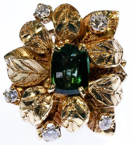14k Gold, Emerald and Diamond Flower Ring