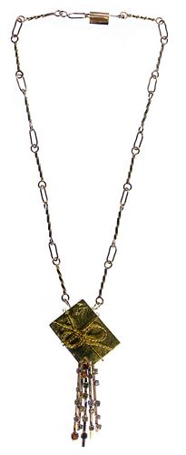 14k Gold and Colored Diamond Pendant on Necklace