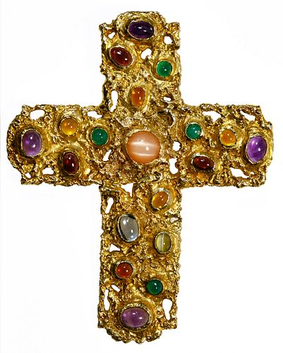 14k Gold and Semi-Precious Gemstone Cross Pendant