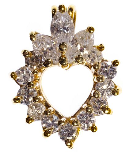 14k Gold and Diamond Heart Pendant