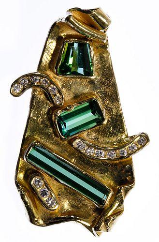 14k Gold and Semi-Precious Gemstone Pendent