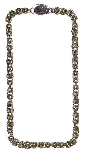 18k / 14k Gold and Gemstone Byzantine Link Necklace