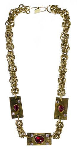 18k / 14k Gold and Gemstone Necklace