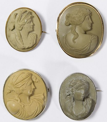 Carved Lava Cameo Pin Assortment