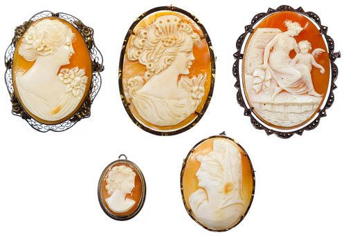 Mixed Silver (925, 800) Framed Carved Shell Cameo Pin / Pendant Assortment