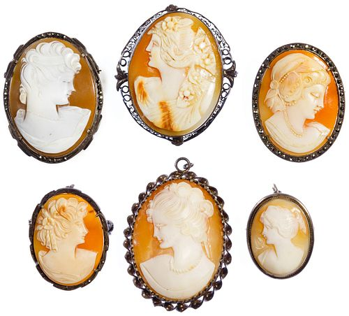 Mixed Silver (925, 880, 800) Framed Carved Shell Cameo Pin Assortment