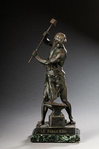 Emile L. Picault. Bronze Sculpture of a Blacksmith.