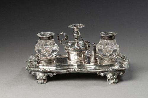 English William IV Silver Inkstand.
