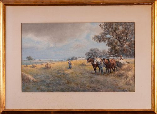 Frank English  (1854 - 1922). Hay Harvest.
