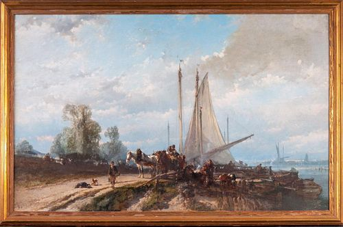 Alfred Edouard A. Bylandt (1829-1890). Waterfront Scene.