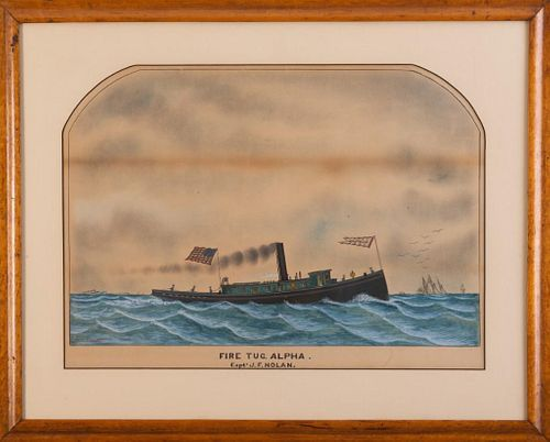 Watercolor Folk Painting of the Fire Tug Alpha.