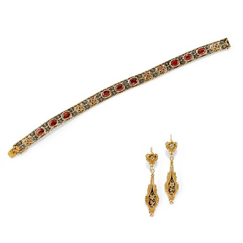 Lot of silver, low-carat gold, 18K yellow gold, ruby and enamel jewels