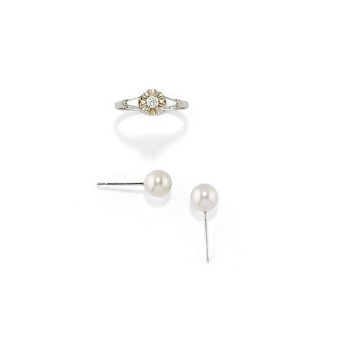A 18K white gold, diamond and cultured pearl ring and earrings