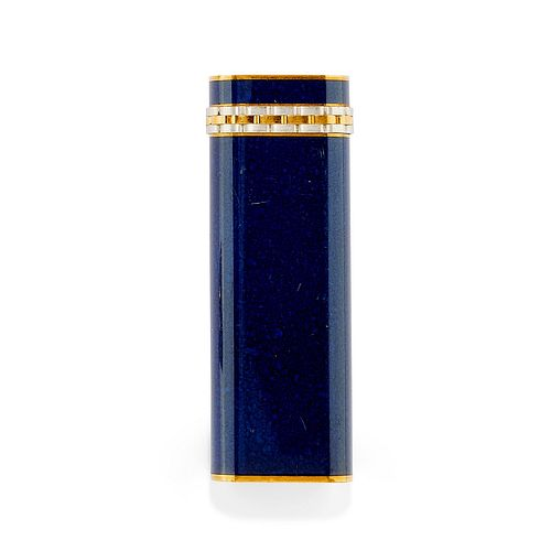 Cartier - A yellow gold plated and blue enamel lighter, Cartier