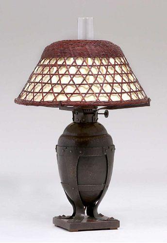 Gustav Stickley Hammered Copper Electrified Kerosene