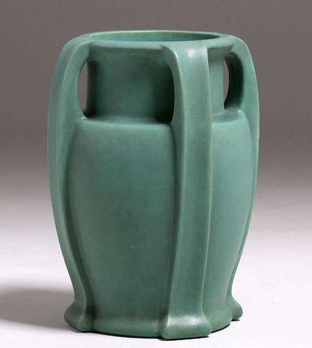 Large Teco Pottery Mattte Green Bulbous Four-Handled