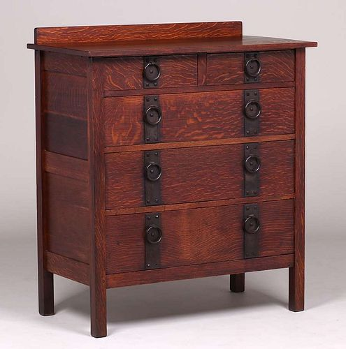 Gustav Stickley #709 Five-Drawer Dresser c1912