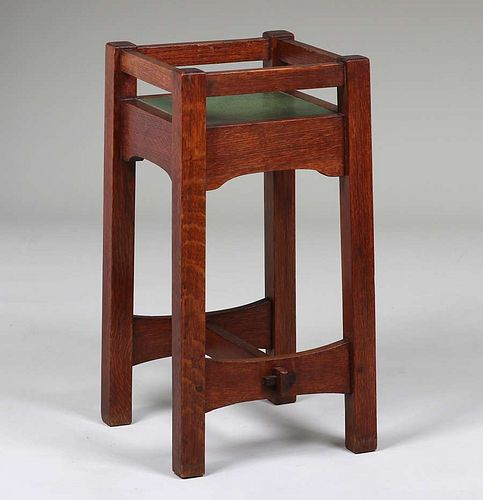 Early Gustav Stickley #48 Grueby-Tile Top Plant Stand