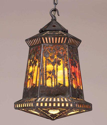 Handel Sunset Overlay Hanging Lantern c1910