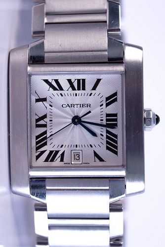 Mid Size Cartier Tank in Stainless Steel Watch