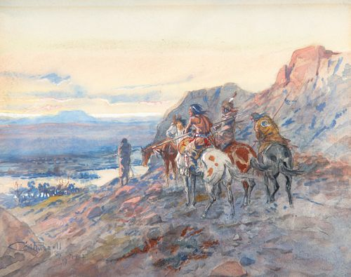 Charles M. Russell (1864-1926); Planning the Attack (The Wagon Train) (1902)