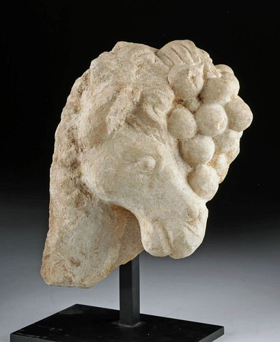 Roman Marble Fragment with Horse and Grapes