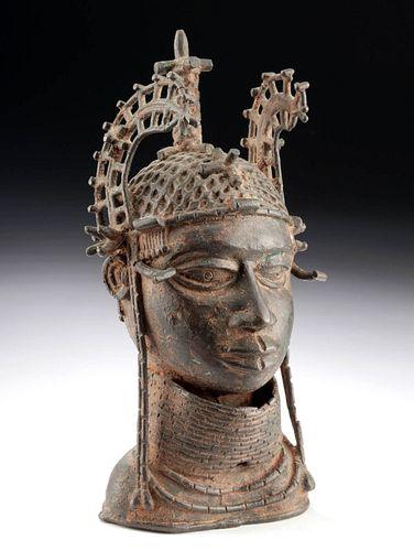 19th C. Benin Bronze Altar Choker Head of an Oba