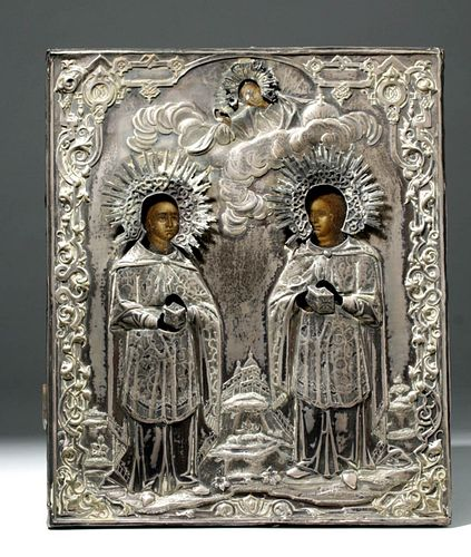 19th C. Russian Icon w/ Silver Oklad, Cosmas & Damian