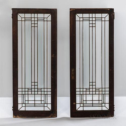 Two Frank Lloyd Wright-style Leaded Glass Windows