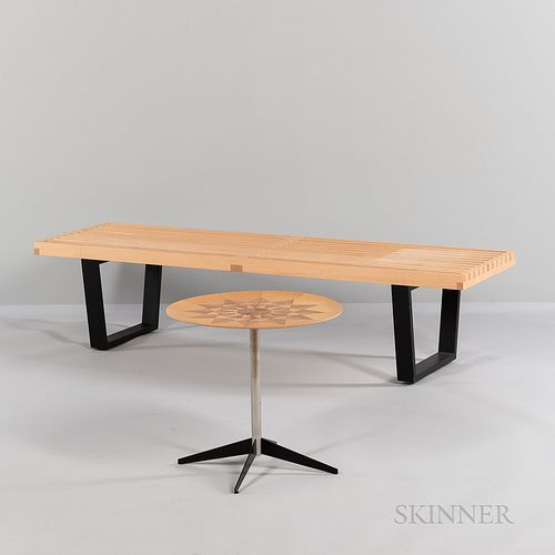 George Nelson (1908-1986) for Herman Miller Slat-top Bench and Marquetry Sunburst Accent Table
