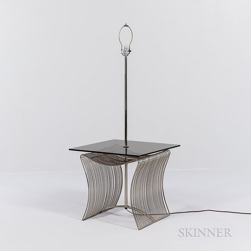 Wire End Table with Integrated Lamp