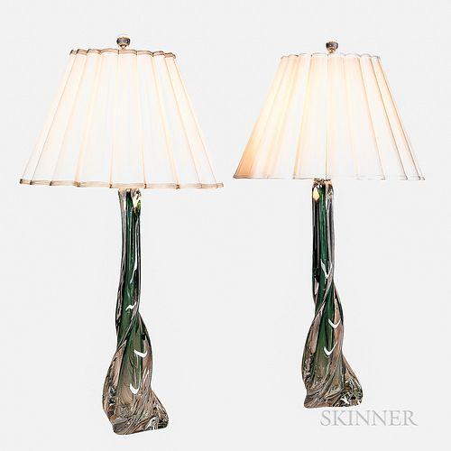 Two Artemis Studios Murano Glass Table Lamps