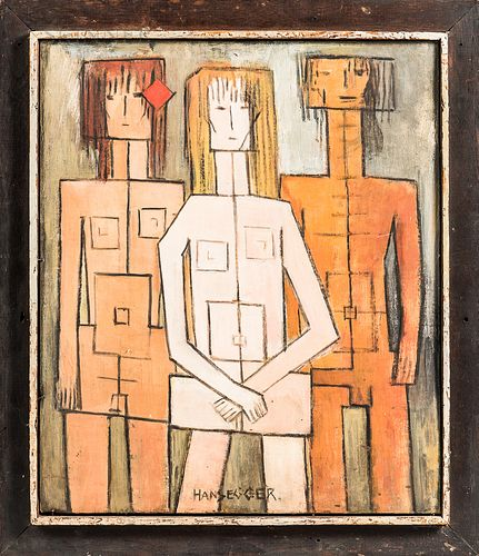 John Hansegger (Swiss/American, 1908-1989)      Komposition with Three Figures - Father, Mother, Daughter