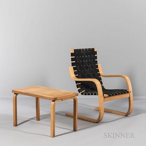 "Alvar Aalto (Finnish, 1898-1976) for Artek ""Model 406"" Armchair and Slat-top L-leg Bench"