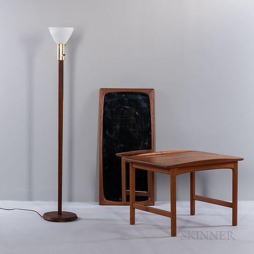 Dux Teak End Table, a Floor Lamp, and a Mirror